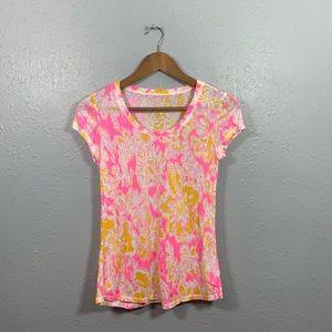 Lilly Pulitzer Linen Blend Short Sleeve Top Sz XS